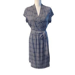 Liz Claiborne Blue & White Faux Wrap Dress Size L